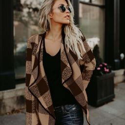 Women's Long Sleeve Plaid Casual Loose Cardigan Tops | Walmart (US)