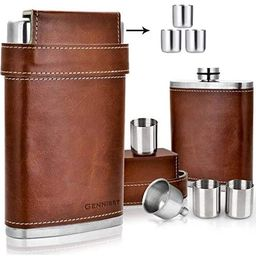 GENNISSY 304 18/8 Stainless Steel 8oz Flask - Brown Leather with 3 Cups and Funnel 100% Leak Proo... | Amazon (US)