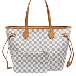 'Grace' Canvas Checked Tote Bag with Pouch (2 Colors) | Goodnight Macaroon