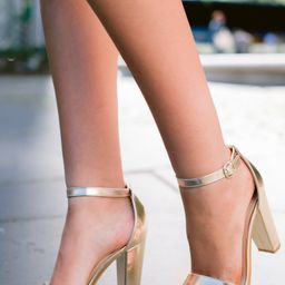 Plans To Dance Gold Ankle Strap Heels   Red Dress