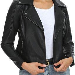 Fahsyee Women's Faux Leather Jackets, Zip Up Motorcycle Short PU Moto Biker Outwear Fitted Slim C...   Amazon (US)