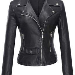 Tanming Women's Faux Leather Moto Biker Short Coat Jacket   Amazon (US)