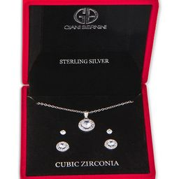 Cubic Zirconia 3-Pc. Set Pendant Necklace & Stud Earrings in Sterling Silver, Created for Macy's   Macys (US)