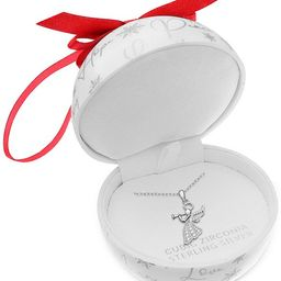 """Cubic Zirconia 18"""" Christmas Pendant Necklace in Sterling Silver in Ornament Box, Created for Mac...   Macys (US)"""