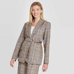 Women's Plaid Tie Waist Blazer - A New Day Brown XL | Target