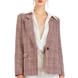 Women's Boyfriend Houndstooth Plaid Blazer Jacket 14 Burgundy | Walmart (US)