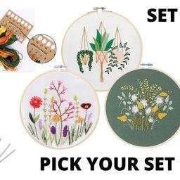 3 Pack Beginner Embroidery Kit  Modern Flower Embroidery Kit   Etsy   Etsy (US)