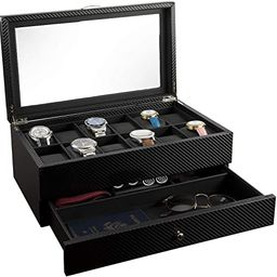 Watch Box- Display Case & Organizer For Men  First-Class Jewelry Watch Holder  12 Watch Slots & V...   Amazon (US)