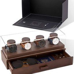 Watch Box Organizer For Men - Modern Watch Display Case and Mens Jewelry Box Organizer With Walnu...   Amazon (US)