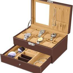 bestwishes Watch Box 12 Slots Watch Organizer Jewelry Display Case Organizer with Jewelry Drawer ...   Amazon (US)