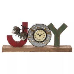 Transpac Wood 16 in. Multicolor Christmas Joy Clock | Target