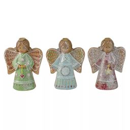 """Northlight Set of 3 Glitter Dusted Gingerbread Christmas Angels 6"""" 