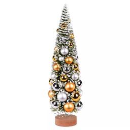 """Vickerman 18"""" Vintage Tabletop Frosted Green Artificial Christmas Tree, Silver and Gold Ornament 