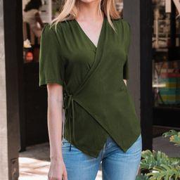 Amaryllis Women's Blouses OLIVE - Olive Short-Sleeve Wrap Top - Women | Zulily