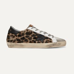 Leopard print Superstar distressed leopard-print calf hair, leather and suede sneakers    Golden ...   Net-a-Porter (US)