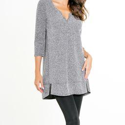 Paolino Women's Tunics H-Grey - Heather Gray Boucle Hi-Low Sweater Tunic - Women | Zulily