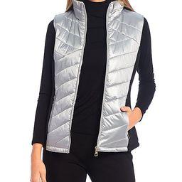 Quilted Zip-Front Metallic Vest   Dillards