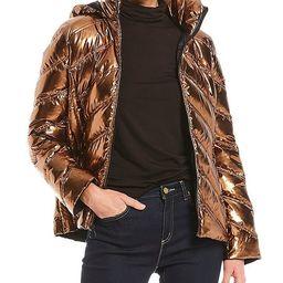 MICHAEL Michael Kors Metallic Packable Water Resistant Chevron Body Puffer Coat   Dillards