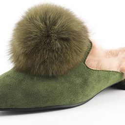 YIYA Mules for Women Shoes Slip on Flats Suede Leather Pointed Toe Slippers with Rabbit Fur   Amazon (US)