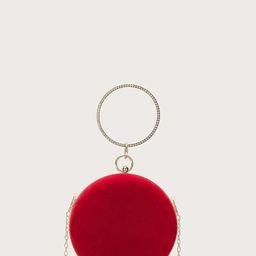 Rhinestone Ring Handle Velvet Clutch Bag   SHEIN