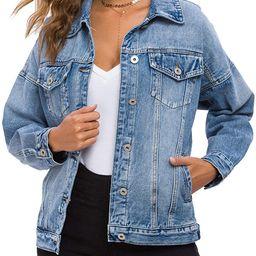Cantonwalker Loose Women's Denim Jean Jacket,Oversize Vintage denim jacket,Long Sleeve Boyfriend ... | Amazon (US)