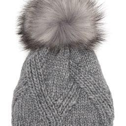 Kyi Kyi | Cable Knit Faux Fur Pompom Beanie | Nordstrom Rack | Nordstrom Rack