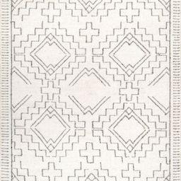 Ivory Aztec Diamond Chevron Tassel Area Rug   Rugs USA