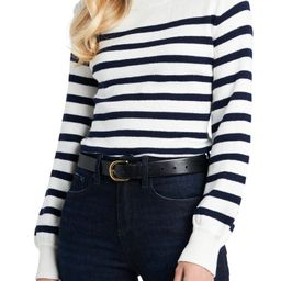 Crewneck Button Trim Stripe Sweater | Nordstrom