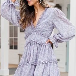Just For Fun Lilac Gray Ditsy Floral Dress | The Mint Julep Boutique