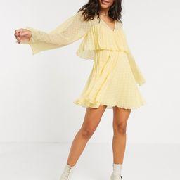 ASOS DESIGN double layer pleated mini dress in yellow   ASOS (Global)