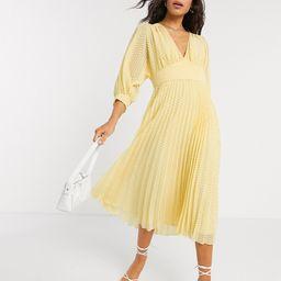 ASOS DESIGN pleated batwing midi dress in chevron dobby in yellow   ASOS (Global)