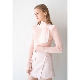 Fancy with Bowknot Knit Top in Pink   Chicwish