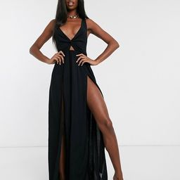 ASOS DESIGN TALL tie back beach maxi dress with twist front detail in black   ASOS (Global)