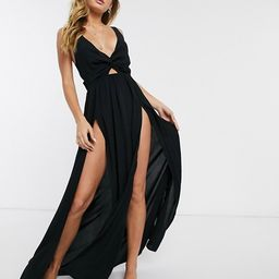 ASOS DESIGN tie back beach maxi dress with twist front detail in black   ASOS (Global)