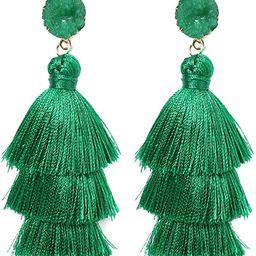 Rave Envy Colorful Tassel Earrings for Women - Layered Tassle Earrings - Choice of Color | Amazon (US)