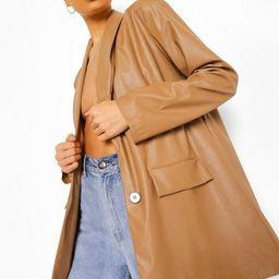 Oversized Faux Leather Dad Blazer | Boohoo.com (US & CA)