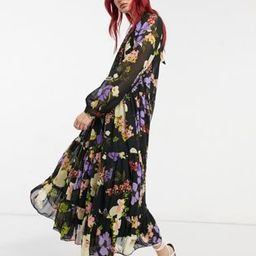 ASOS DESIGN high neck tiered maxi dress in bold winter floral   ASOS (Global)