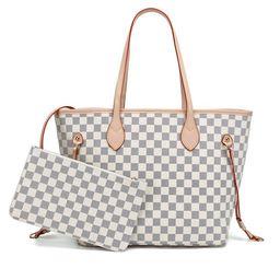 TWENTY FOUR Checkered Tote Shoulder Bag Women Crossbody Travel Satchel- PU Vegan Leather (White c... | Walmart (US)