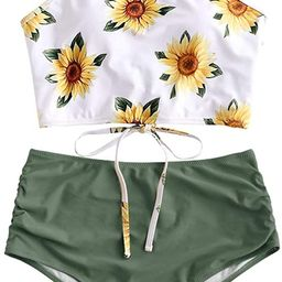 ZAFUL Women's Leaf Print Lace Up Ruched High Waisted Tankini Set Swimsuit   Amazon (US)