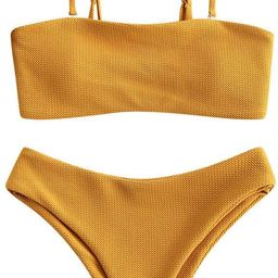 ZAFUL Women's Two-Piece Basic Padded Textured Bandeau Bathing Suit Spaghetti Straps Cami Bikini S...   Amazon (US)