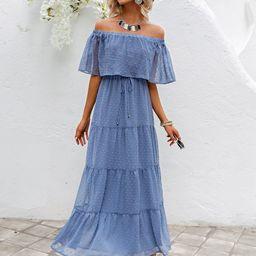 Simplee Tie Waist Swiss Dot Chiffon Dress | SHEIN
