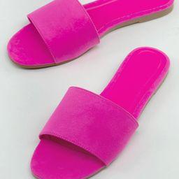 One Band Open Toe Flat Slide Sandals   SHEIN
