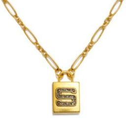 """S"" Padlock Initial Necklace   Sequin"