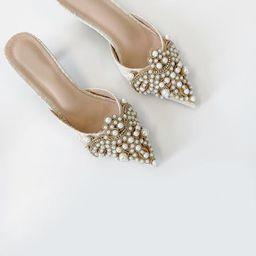 Valentina Pearl Embellished Kitten Heel (PRE ORDER) | Cream | Vita Grace