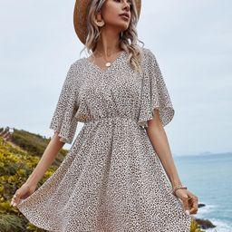 Leopard Print Butterfly Sleeve A-line Dress | SHEIN