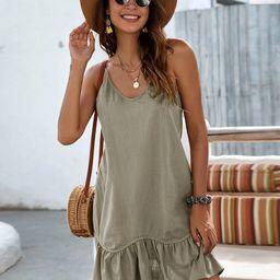 Ruffle Hem Solid Cami Dress | SHEIN