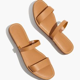 The Boardwalk Double-Strap Slide Sandal in Leather   Madewell