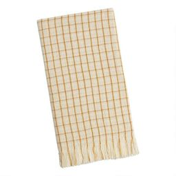 Windowpane Waffle Weave Kitchen Towel With Fringe | World Market