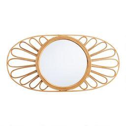 Oval Natural Rattan Floral Mirror | World Market