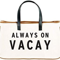 Simple Canvas Beach Tote Bag For Women, Large Purse For Travel (Always On Vacay) | Amazon (US)